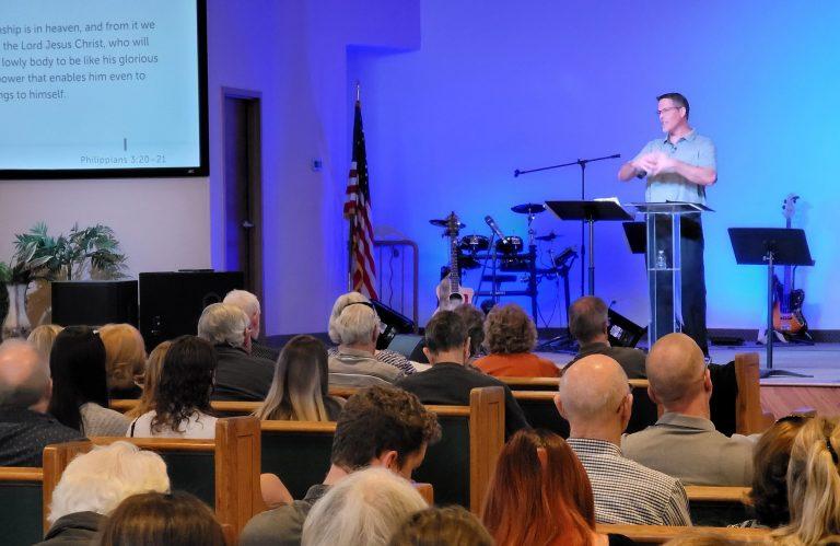 Pastor Josh White preaching at Grace Bible Church of Phoenix, AZ